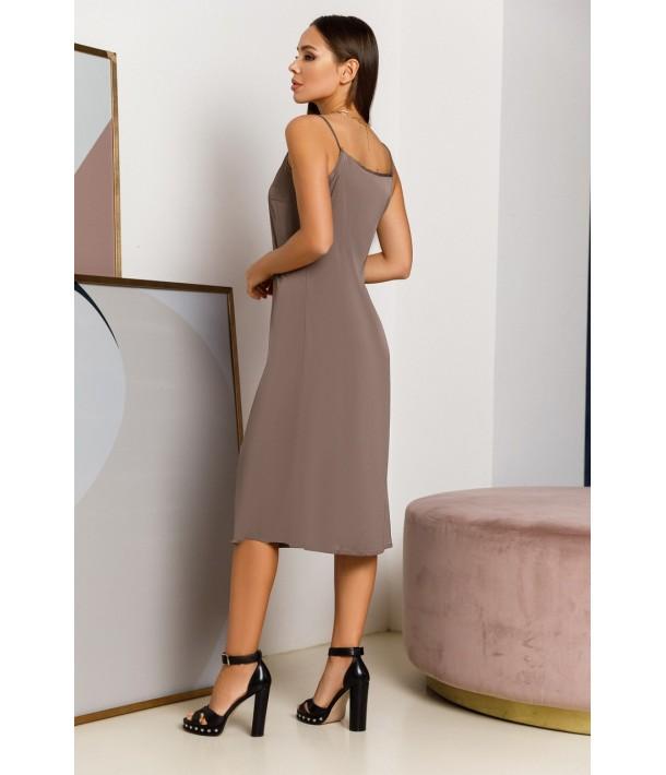 Шовкова сукня-комбінація міді в кольорі моко