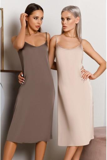 Шелковое платье-комбинация миди в цвете мокко
