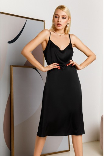 Шелковое платье-комбинация миди черное