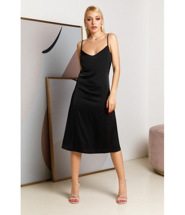 Шовкова сукня-комбінація міді чорна