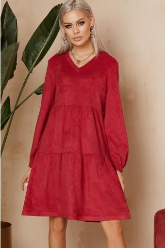 Ягодное ярусное платье из эко-замши
