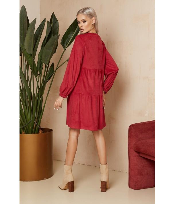 Ягідна ярусна сукня з еко-замші