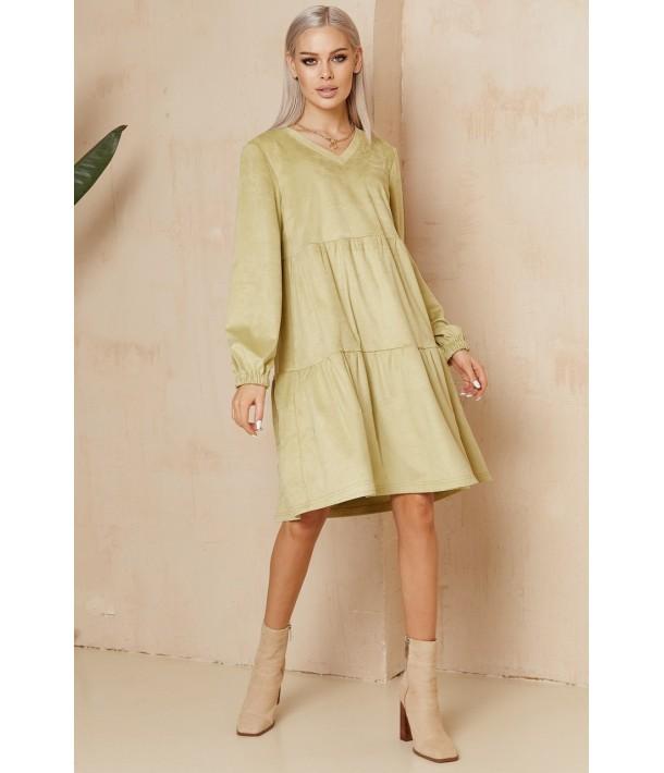 Фісташкова ярусна сукня з еко-замші