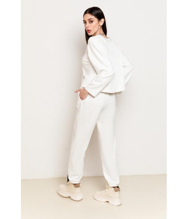 Молочний трикотажний костюм (світшот та брюки)