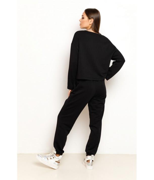 Черный трикотажный костюм (свитшот и брюки)