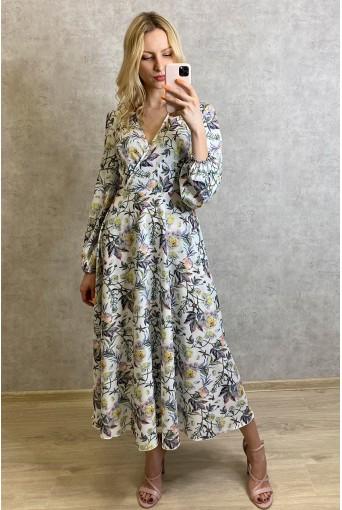 Молочное платье на запах с объемными рукавами в цветочный принт