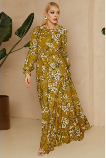 Оливковое платье макси с цветочным принтом
