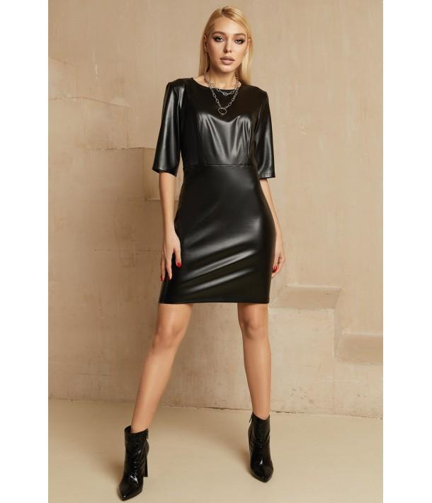 Черное платье-футляр мини из эко-кожи