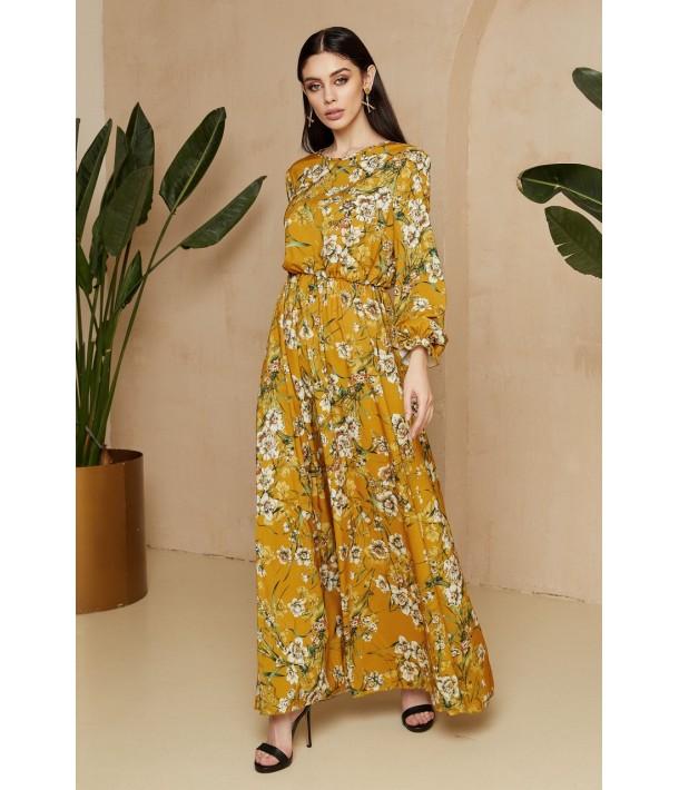 Гірчична сукня максі з квітковим принтом