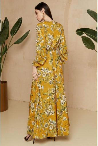 Горчичное платье макси с цветочным принтом