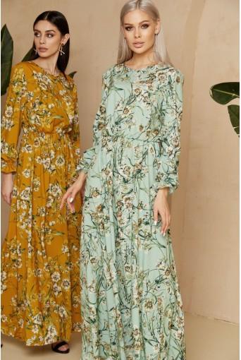 Мятное платье макси с цветочным принтом