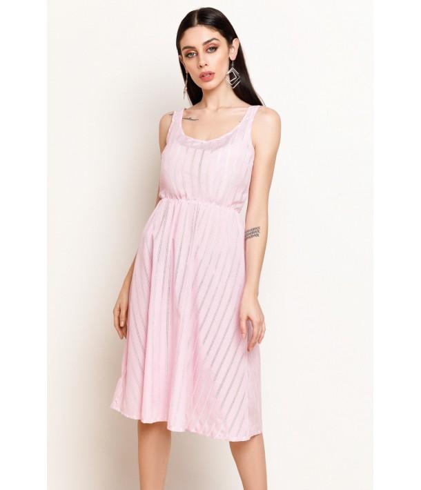 Рожевий сарафан в білу смужку з вишивкою нижче коліна
