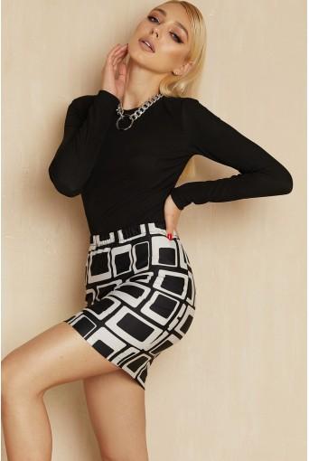 Мини юбка трикотажная с геометрическим принтом