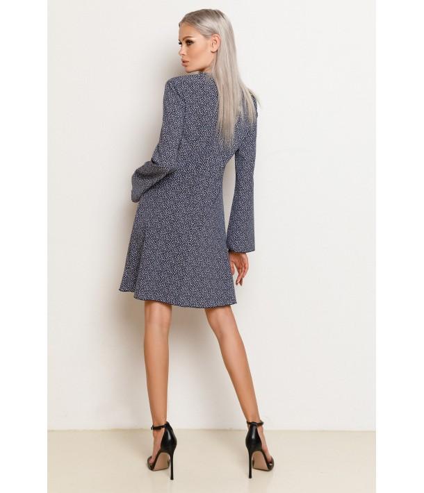 Мини платье темно-синее с цветочным принтом