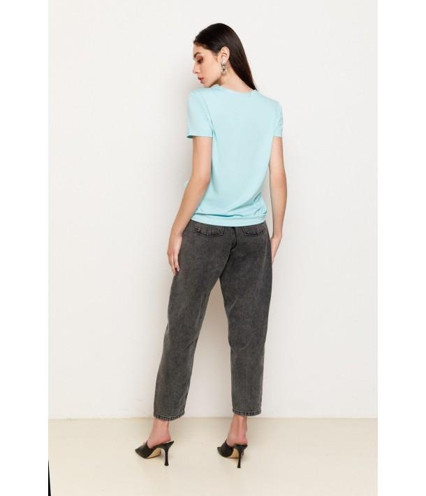 Сірі джинси слоучи з защипами