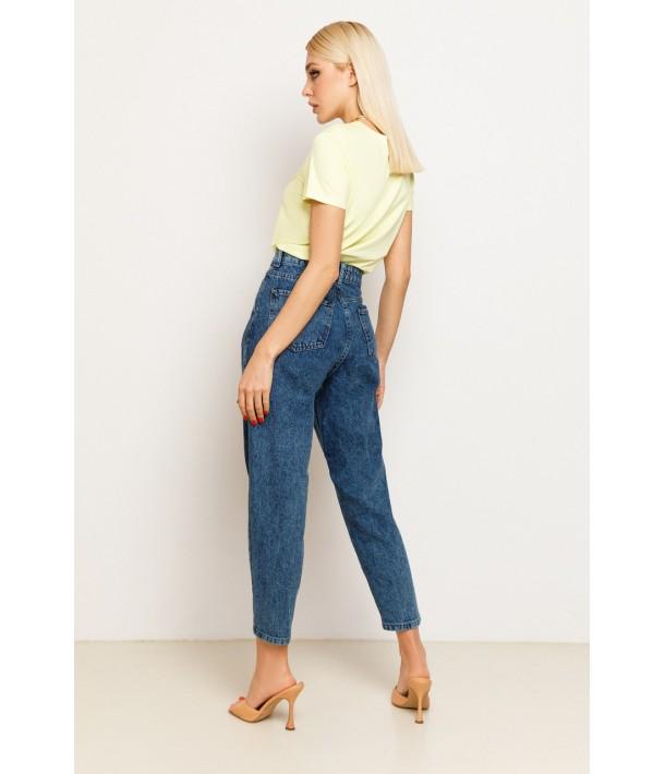 Синие джинсы слоучи с защипами