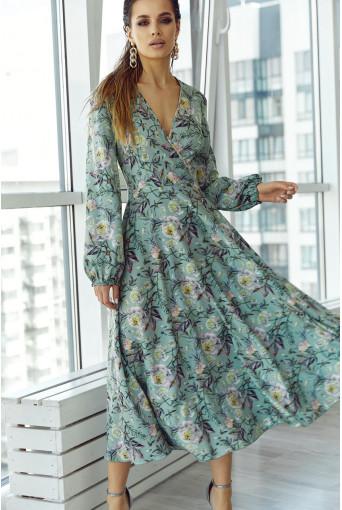 Травяное платье на запах с объёмными рукавами в цветочный принт