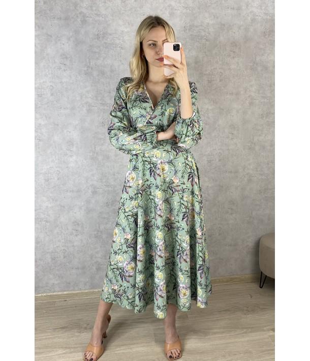 Трав'яна сукня на запах з об'ємними рукавами в квітковий принт