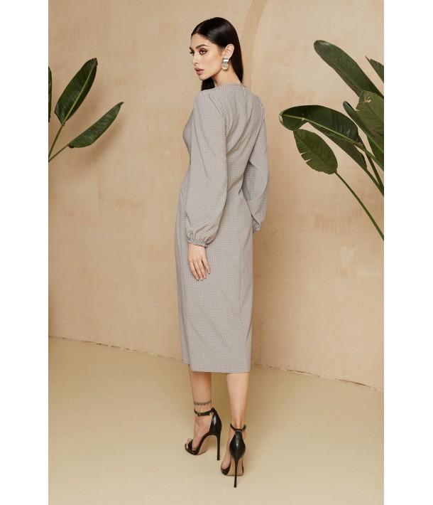 Сіра сукня-футляр міді в дрібний горох