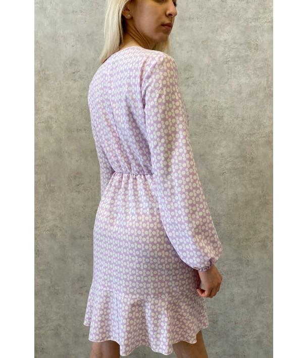 Лавандова міні сукня на запах в молочні кола