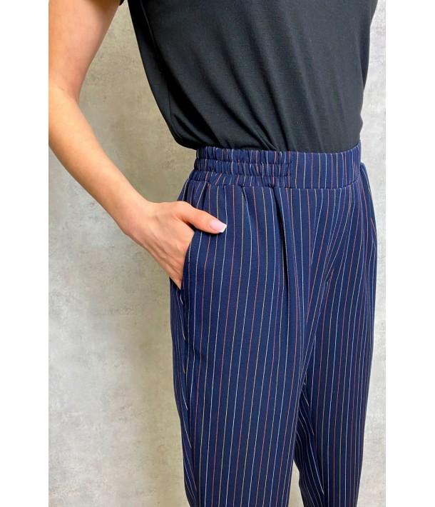 Темно сині прямі брюки в смужку