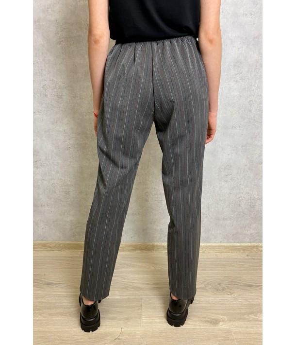 Графитовые прямые брюки в полоску