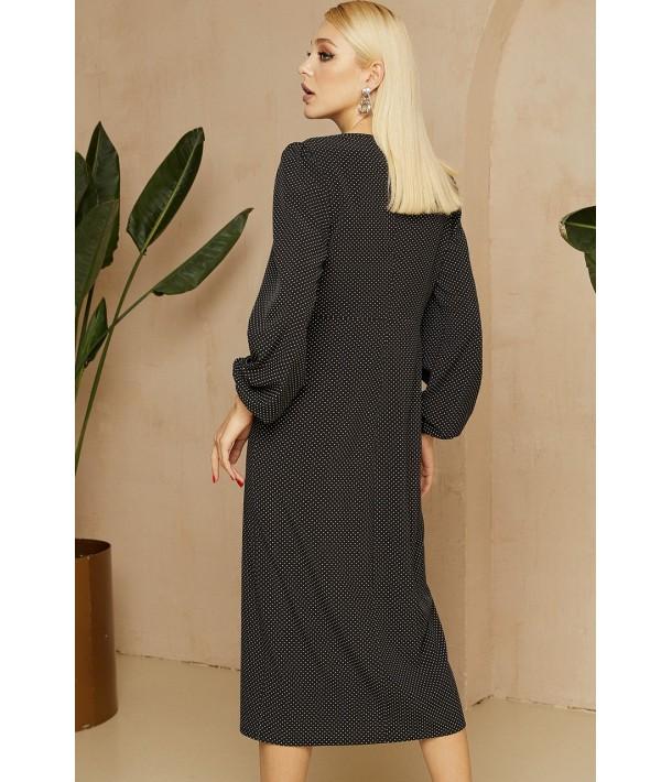 Черное платье-футляр миди в мелкий горох