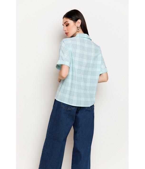 Женская рубашка в клетку с коротким рукавом мятная