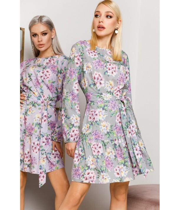 Серое платье с оборкой по низу с принтом гортензии