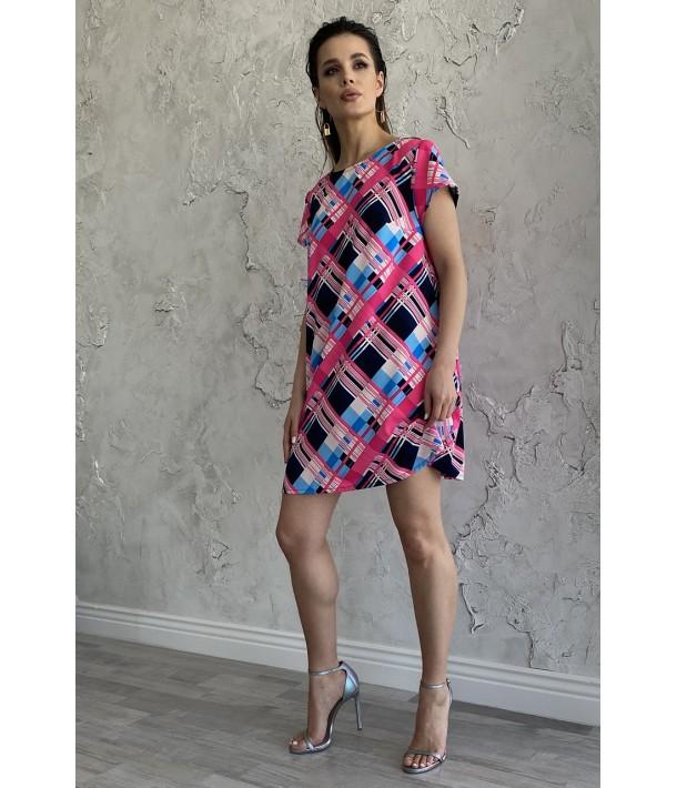 Платье мини розово-небесная клеточка