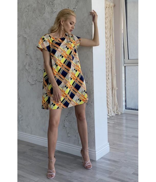 Сукня міні помаранчево-жовта клітинка