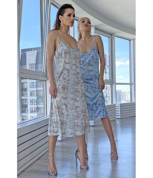 Платье-комбинация шелковое абстракция на небесном