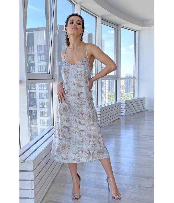 Сукня-комбінація шовкова абстракція на фоні шалфей