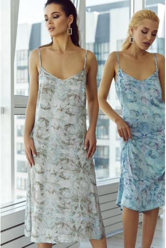Платье-комбинация шелковое абстракция на фоне шалфей