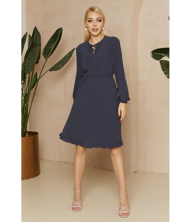 Синее платье с завязками в мелкий белый горох