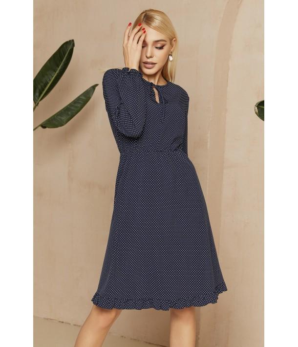 Синя сукня з зав'язками в дрібний білий горох