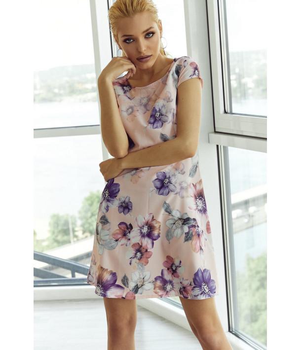 Сукня міні приталена в яскраві квіти на рожевому