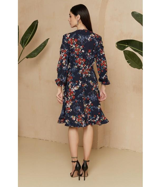 Темно-синя сукня з зав'язками в яскравий квітковий принт