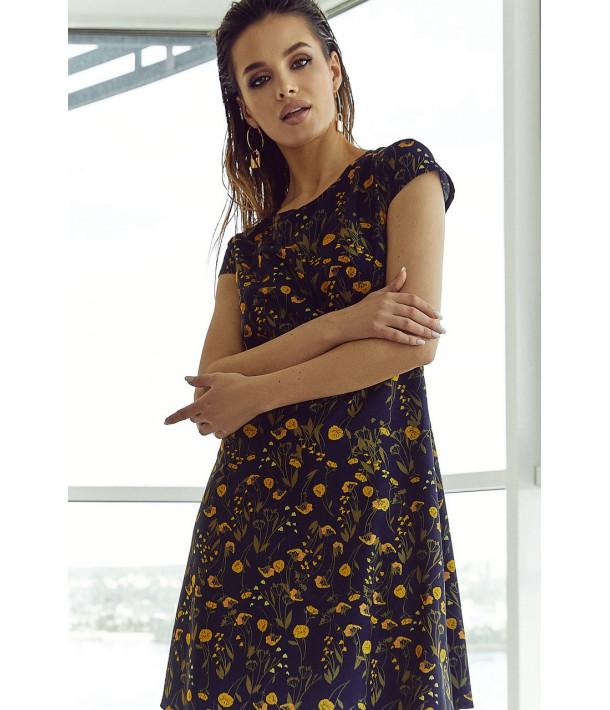 Платье мини приталенное в желтые цветы на синем
