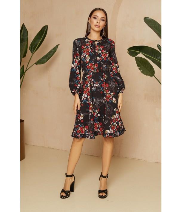 Чорна сукня з зав'язками в яскравий квітковий принт