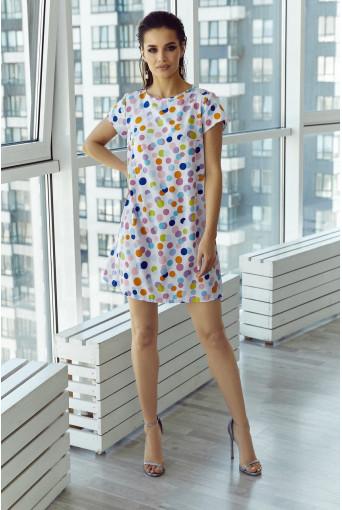 Платье мини софт цветной горох на молочном