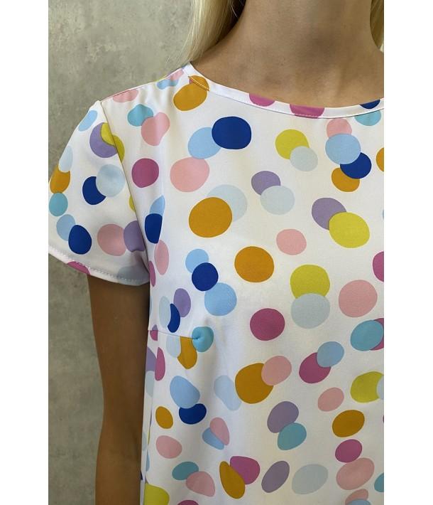 Сукня міні софт кольоровий горох на молочному