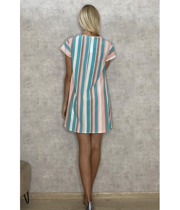 Платье мини бирюзово-пудровая полоска на молочном