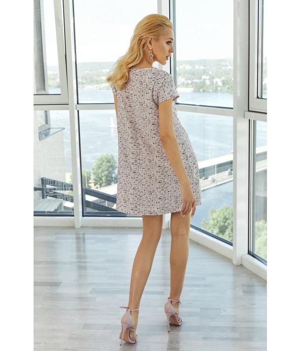 Сукня  міні принт на фрезовому