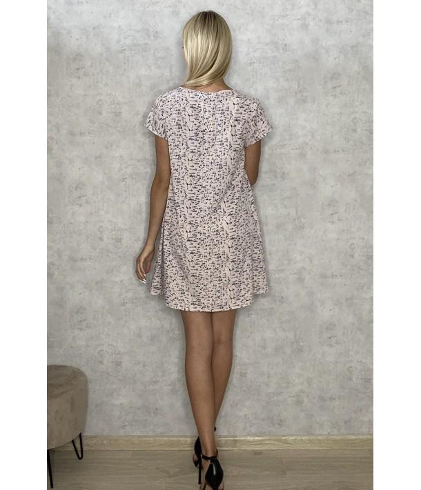 Платье мини принт на фрезовом