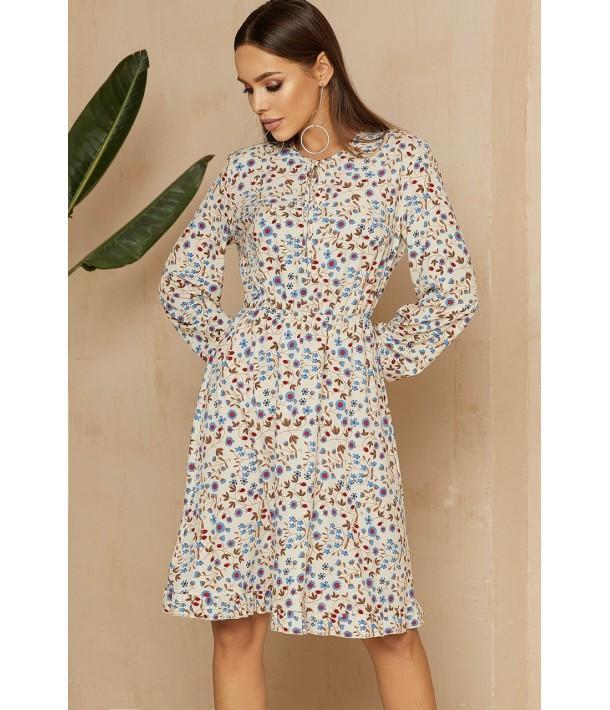 Молочна сукня з зав'язками в квітковий принт