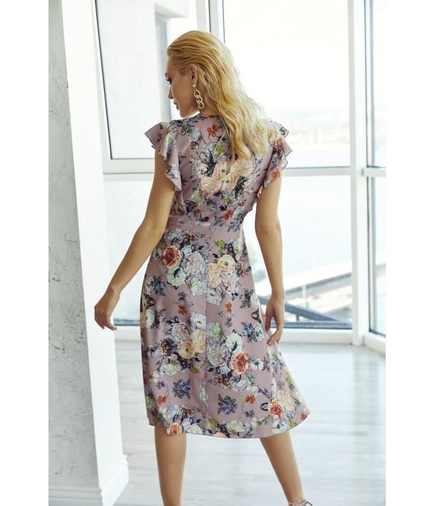 Платье миди с воланами цветы на фрезовом