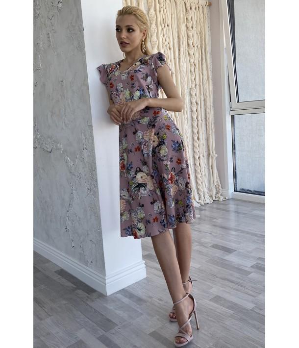 Сукня міді з воланами квіти на фрезовому