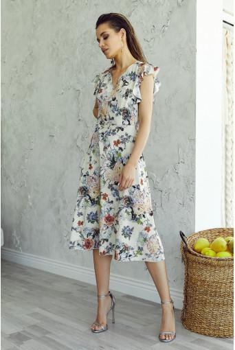 Платье миди с воланами цветы на ванильном