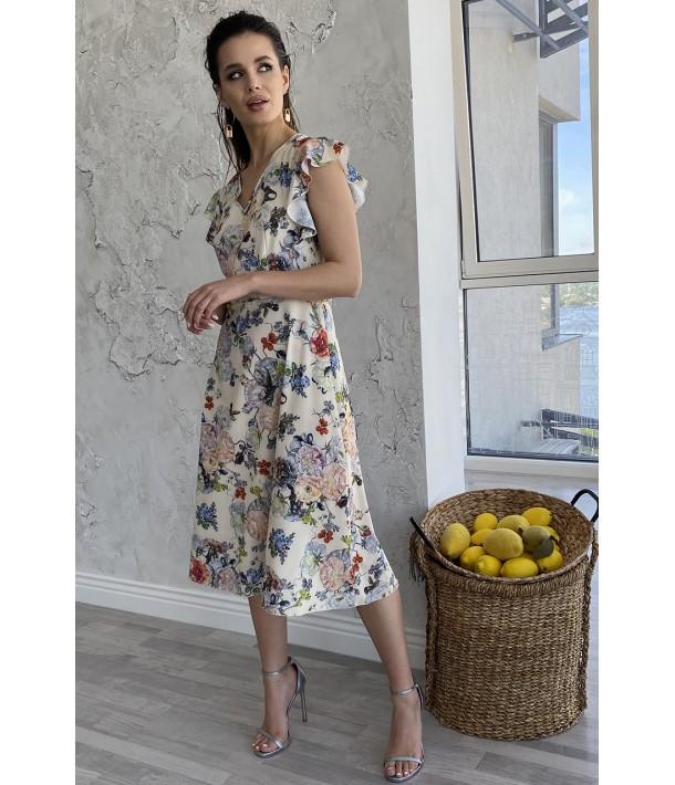 Сукня міді з воланами квіти на ванільному